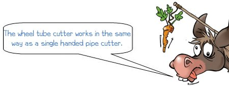 Wonkee donkee says; The wheel tube cutter works in the same way as a single handed pipe cutter.