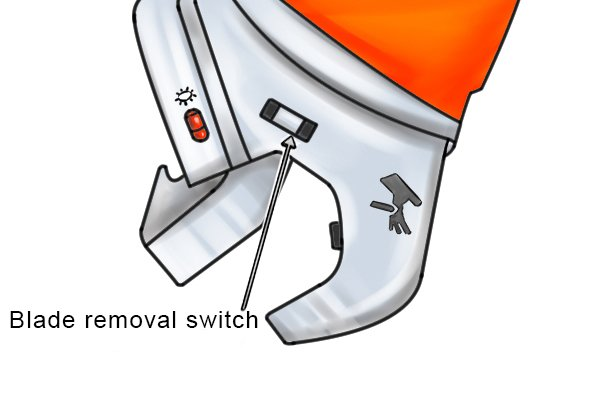 Power tube cutter blade removal switch