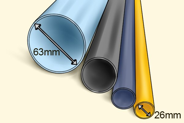 Different sized PVC tubing sized 26mm - 63mm