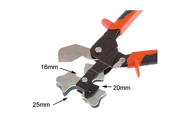 3 way tube cutter slot sizes; 16mm, 20mm and 25mm