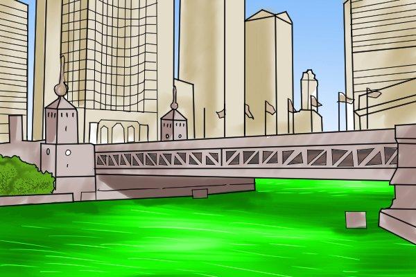 tracing dye, fluorescent green, green river, america, saint Patrick's day