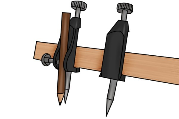Trammel heads come in pairs. Usually, one trammel head holds a pencil or other marking instrument and the other holds a steel point which anchors the tool to the surface being marked.
