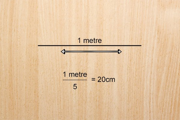 The distance between the trammel heads will depend upon how long you want the equal sections of the line to be. E.g. If your line is 1m long and you wish to divide it into 5 equal sections, the distance between the trammel heads should be 20cm.