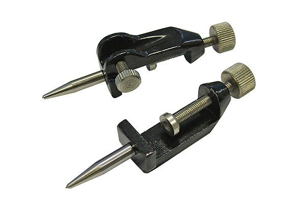 Most trammel heads come in pairs and can accommodate a beam between 19-38mm wide.    The length of their steel point(s) can be adjusted manually after the clamping nut is loosened. Once the steel points are at the required length, the nut is tightened to secure the points in place.