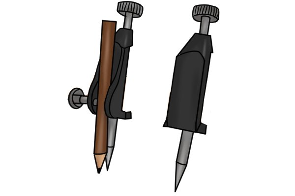 Step 1 - Install a pencil in one trammel head and a steel point in the other Insert a small pencil into the body of one of the trammel heads and tighten the clamping nut to secure it in place. The other trammel head should have the steel point installed.