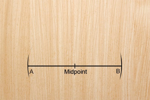 Step 3 - Draw reference marks Draw reference marks on either side of, and an equal distance from, the midpoint mark.
