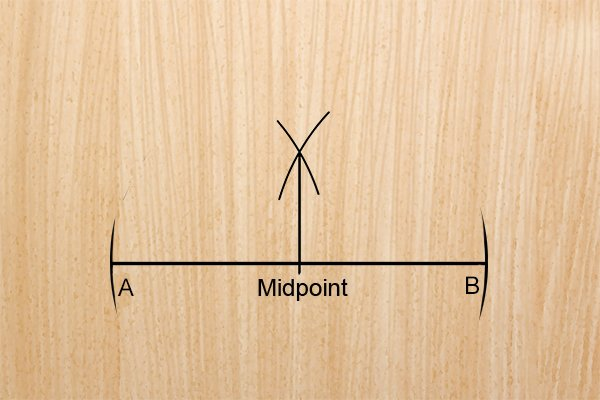 Step 6 - Connect the point where the arcs meet to the primary line midpoint Connect this point to the midpoint on the primary line.