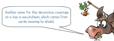 Another name for the decorative coverings on a tap is escutcheon, which comes from words meaning 'to shield'.