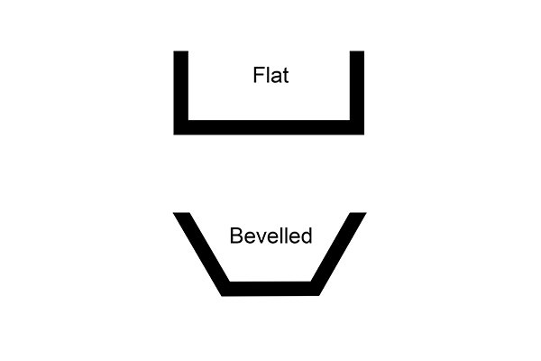 tap seats flat and bevelled