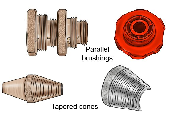 steel and plastic bushings, brass and steel cones