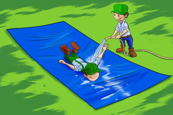 Tarpaulins can be used as a water slide
