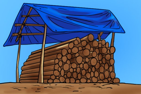 A tarpaulin covering a log store