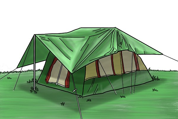 Image of a polypropylene tarpaulin used as a temporary shelter