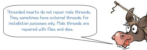 Threaded inserts do not repair male threads. They sometimes have external threads for installation purposes only. Male threads are repaired with files and dies.