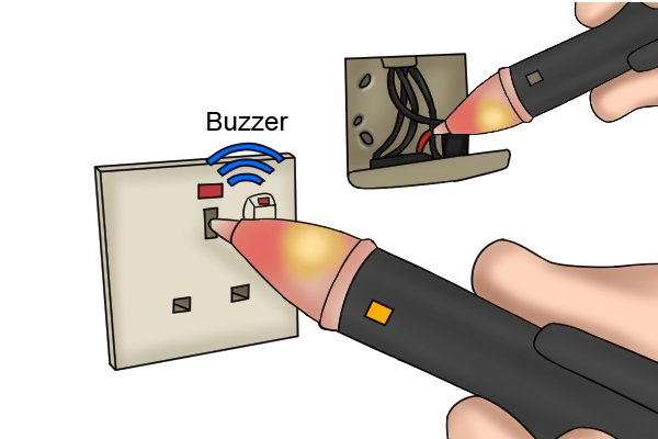 voltage detector light and sound indicators