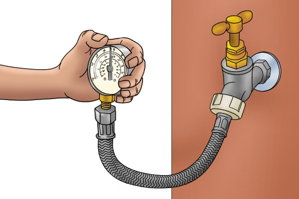 Attach the water pressure gauge to the tap, taking a pressure reading