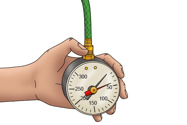 Take a reading from the water pressure gauge