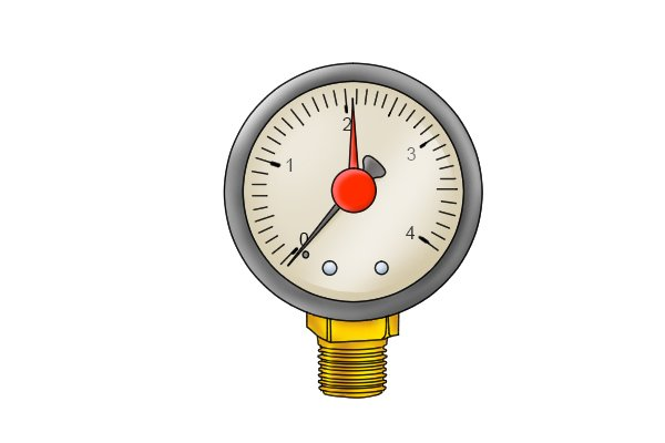 Water pressure gauge bottom mounted brass connection