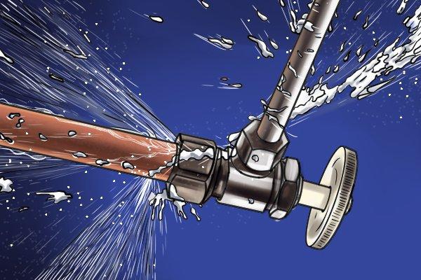 Water leaking from pipe, broken pipe, leaky plumbing