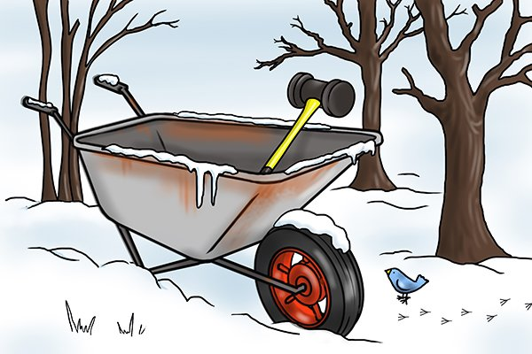 Wonkee Donkee maul in wheelbarrow in winter snow. Fibreglass is weather resistant without the need for treating, they are able to stand the wear and tear of everyday usage.