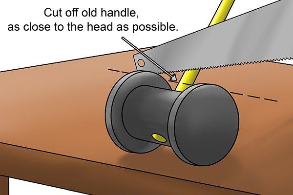 use handsaw with a coarse blade to cut away any remaining broken handle on the underside