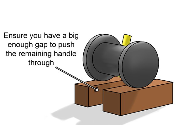 ensure you have a big enough gap to push remaining handle through
