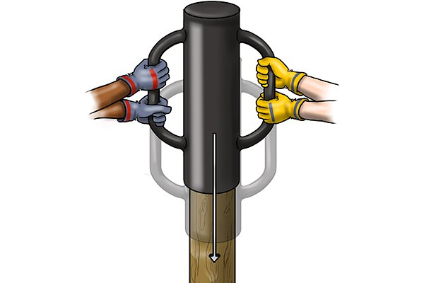 the post rammer can be used by two people, one on each handle