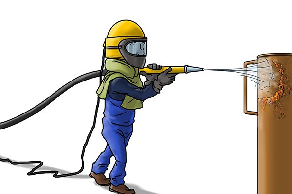 abrasive blasting is when fine pieces of material are fire under pressure at a surface
