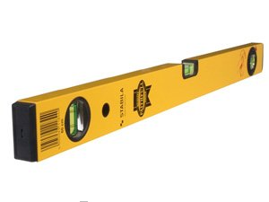 Typical builders yellow spirit level with 3 vials