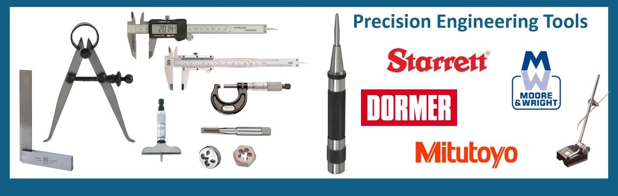 Wonkee Donkee Precision Engineering Tools including digital vernier caliper, traditional vernier caliper, micrometers, depth micrometer, automatic centre punch, taps & dies, engineers squares, and much more