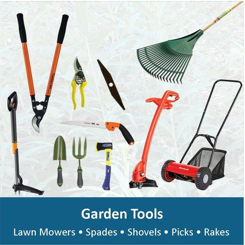 From lawnmowers to rakes, Chainsaws to pruning knives, we have a wide selection to suit your needs.