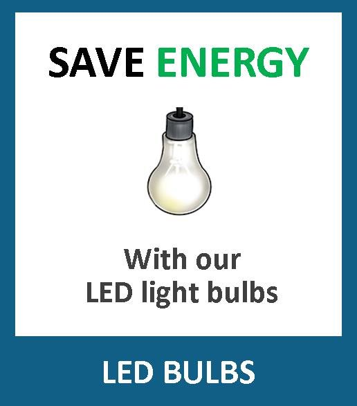 Save money and energy with these energy efficient LED bulbs. Although they may cost more than an ordinary bulb, they use only a tenth of the power, and will outlast any normal incandescent light bulb. Choose from your normal bayonet (BC - B22) type, GU10 lamps, Edison screw, mini globes, candle bulbs, dimmable LED bulbs, E14, E27, B15, B22, 250-810 Lumens, 2700K - 4000K