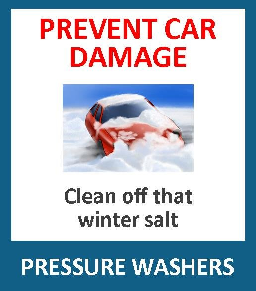 Don't let the road salt damage your car! Salt is very corrosive to your vehicle. Use a pressure washer to wash the underside of your vehicle and get into all the nooks and crannies.