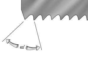 Example of the 60 degree angle between hole saw blade teeth.