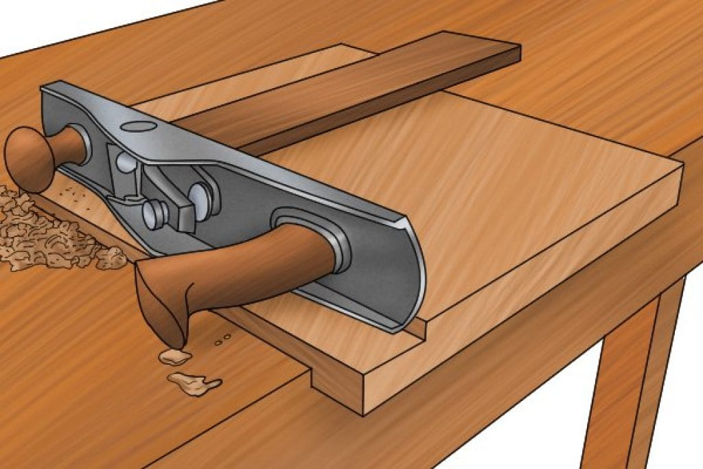 Bench used to secure a piece of material whilst being worked on with a hand plane.