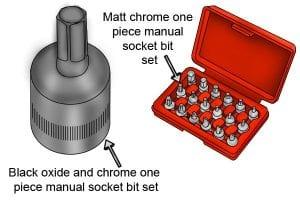 Black oxide, chrome and matt chrome socket bits