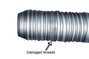 Example of how threads can get damaged on a bolt.