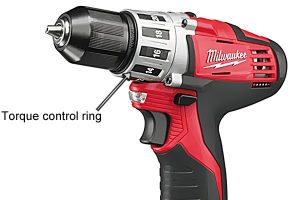 Torque control ring on a cordless power drill.