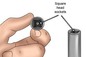 Examples of square head sockets