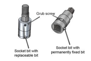 Grub screw, replaceable and permanently fixed socket bit