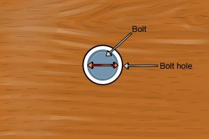How to locate the bolt hole in a material.