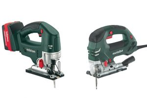 Different angles of a Metabo jigsaw power tool.