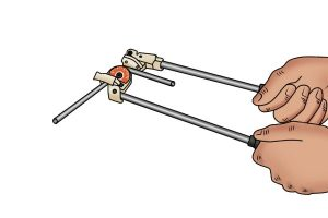 Example of how to use pipe bending tools carefully.