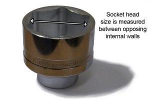Socket head size is measured between internal walls