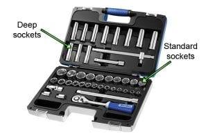 Socket set including deep and standard sockets