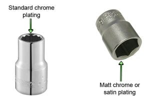 Standard chrome plating and matt chrome satin plating