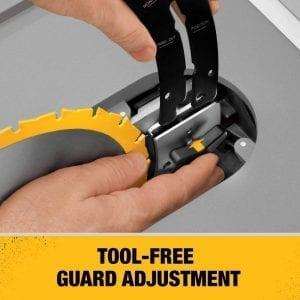 Dewalt dw745 tool free blade adjustment