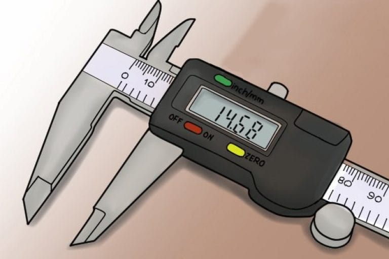 Easy to use buttons and clear screen on a digital caliper.