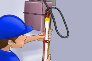 Using a gas test gauge to test a device