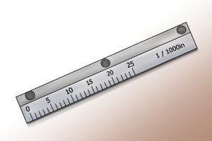 Ruler measuring device on a vernier caliper.